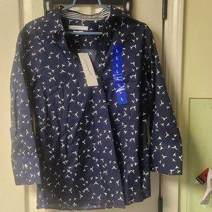 Foxcroft Navy & White Bird Shirt New